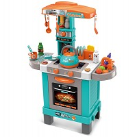 Play kitchen with light, sound and a kettle with real turquoise / orange steam