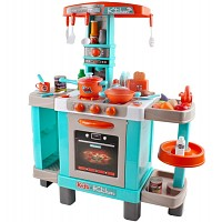 Play kitchen with light and sound, turquoise / orange, large