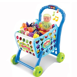Shopping trolley with light and sound made of plastic including fruit, vegetables and 36-part accessories