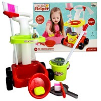 Children's cleaning trolley Cleaning trolley with mop, bucket, broom and other accessories