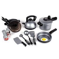 TikTakToo 16 pieces child's cooking dishes, puppet dishes, puppet kitchen, pot set, black, silver