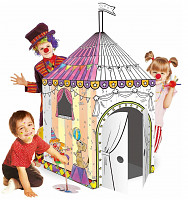 Cardboard house for painting circus