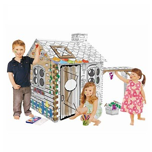 Cardboard house for painting Rattan House