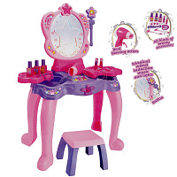 Dressing table with magic mirror and magic wand - pink / purple / pink