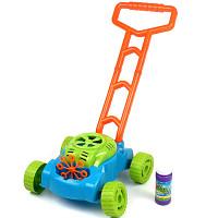 Children's lawn mower with bubble-blow soap machine