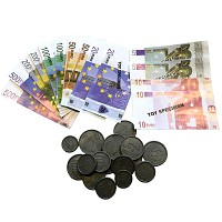 PLAY MONEY Euro coins and notes 30 pieces of Euro notes Rechengeld Kaufladen