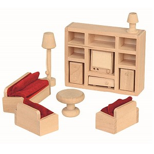 11-part living room set for the doll's house. Dollhouse accessories. Wooden furniture