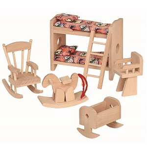 5-part children's room set for the dollhouse. Dollhouse accessories. Wooden furniture