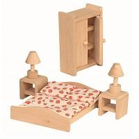 6 teiliges Schlafzimmer Set für die Puppenstube Puppenhaus Zubehör Einrichttung aus Holz Puppenmöbel