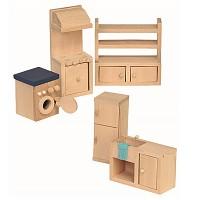 5 teiliges Küche Set für die Puppenstube Puppenhaus Zubehör Einrichttung aus Holz Puppenmöbel