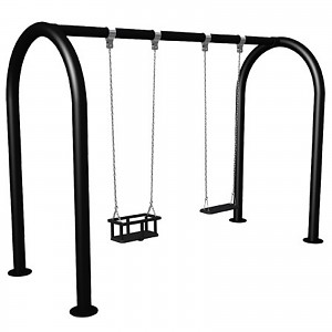 FENOKEE almost maintenance-free swing frame double seated swing with 2 toddler seats EN1176