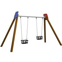 BEN - Doppelschaukel Holzsteher, 2x Babysicherheitssitz