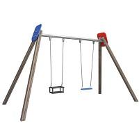 Swing frame double seat swing with 1 x toddler swing seat and 1 swing board EN1176