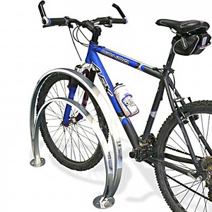 Stainless steel bike stand for 2 bikes of different heights for public areas
