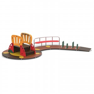 Child play island with climbing ladder, bench and barriers for public areas EN1176