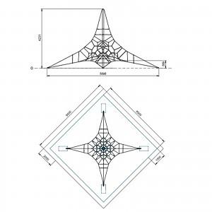 Spinnen-Kletternetz 4m Masthoehe Maße