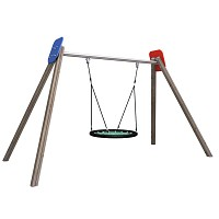 Nest swing made entirely of wood, HDPE and metal for public playgrounds, schools, kindergartens EN1176