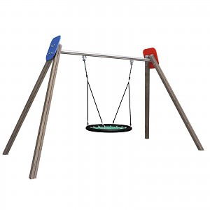 Nest swing completely consisting out of wood, HDPE and metal for public playgrounds, kindergartens EN1176