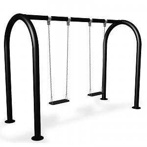 Almost maintenance-free swing frame, double seat swing with 2 swing boards EN1176