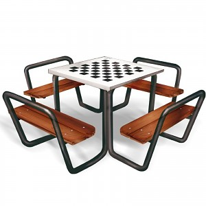 Bench seat group with table with chessboard application
