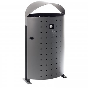 Litter bin Garbage can Dara 95L in an elegant modern design for public spaces in cities, parks, playgrounds