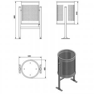 Abfallbehälter Mülleimer Circular Gross 70 L Maße