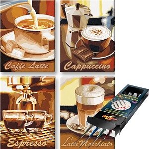 Malen nach Zahlen Kaffeepause inkl. Pinselset SET