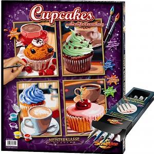 Malen nach Zahlen Cupcakes inkl. Pinselset Set
