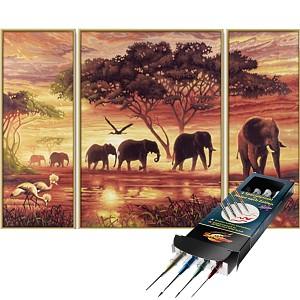 Malen nach Zahlen Elefanten-Karawanen inkl. Pinselset