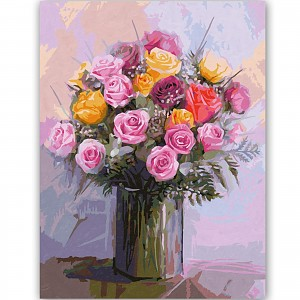 Paint by number 609130749 Bunch of Roses in Pastel Colors 40 x 50 cm