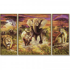 Painting by numbers - Africa - The Great Five - Triptych 50x80cm