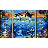 paint by number - SCHIPPER - at tropical coral reef, Triptychon 80x50