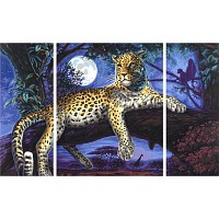 Malen nach Zahlen-Afrika-Jäger in der Nacht Triptychon 50x80cm LEOPARD
