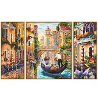 Paint by number 609260736 Venice - The city in the lagoon, Triptychon, 50x80