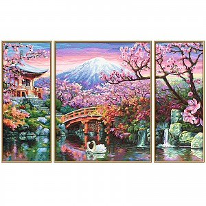 Painting by numbers 609260751 Cherry blossom in Japan Triptych 50x80cm