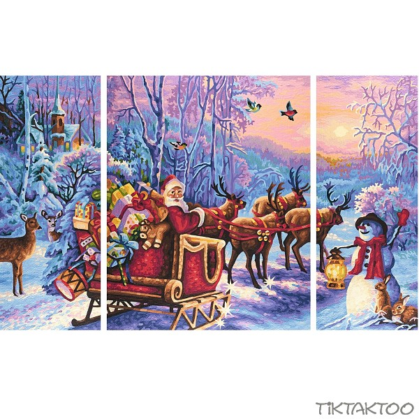 Weihnachtsbilder Weihnachtsmann.Santa Claus Is Coming 50x80 Paint By Number Tiktaktoo