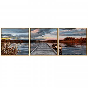 Paint by number 60947074 Sunrise by the lake Triptychon 120x40cm