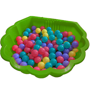 Apple-green water mussel with 100 colored balls