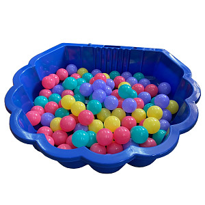 blue water shell with 100 colored balls