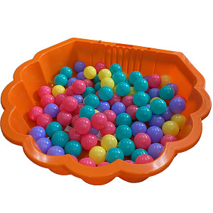 orange water shell with 100 colored balls