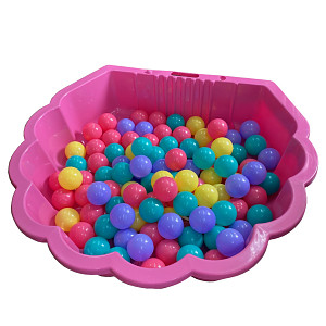 pink water shell with 100 colored balls