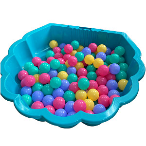 turquoise water shell with 100 colored balls