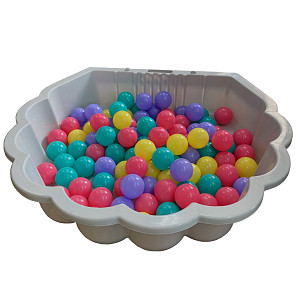 gray water shell with 100 colored balls