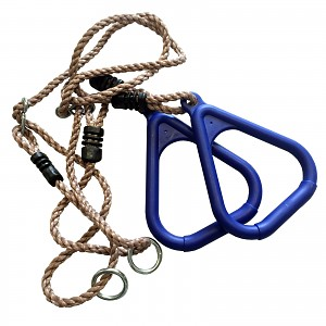Triangular gymnastic rings with rope, blue