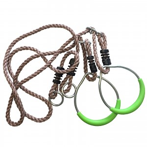 Gymnastic rings with rope metal, green