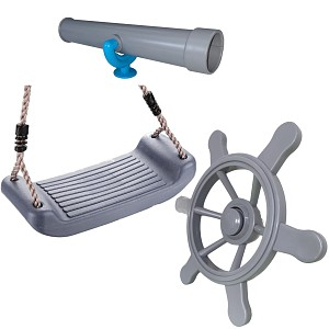 Climbing frame set, large pirate steering wheel, telescope and swing seat gray / turquoise
