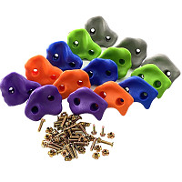 Set of 15 climbing stones made of plastic - orange, purple, gray, blue, apple green