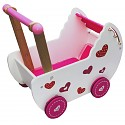 Baby doll pram, doll furniture, baby walker, push trolley pink / white