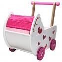 Baby doll pram, doll furniture, baby walker, push trolley pink / white