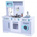 Wooden play kitchen with accessories - white / turquoise